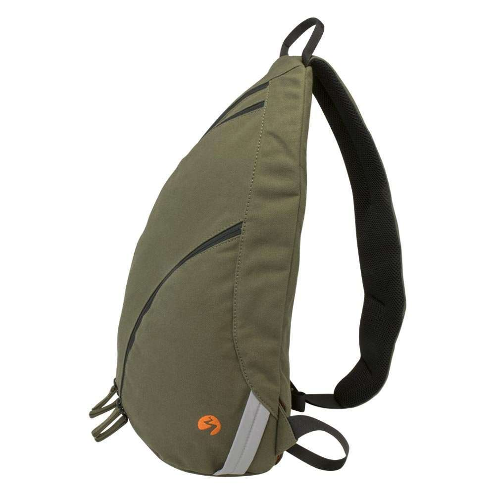 Olive green canvas sling backpack travel bag - side view