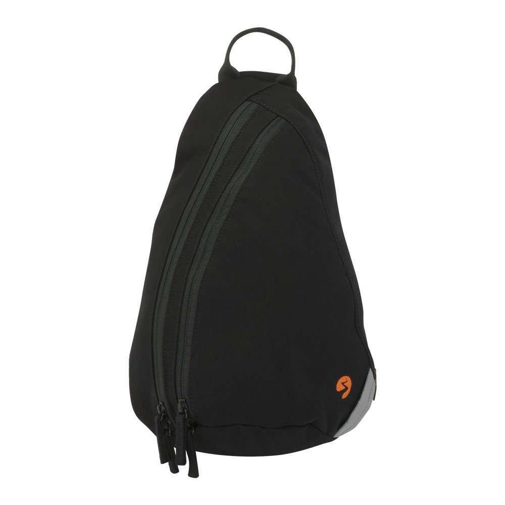Black canvas sling backpack travel bag - front view