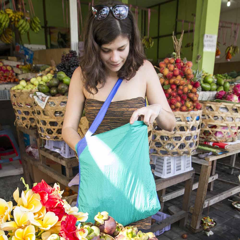 Girl wearing eco market bag