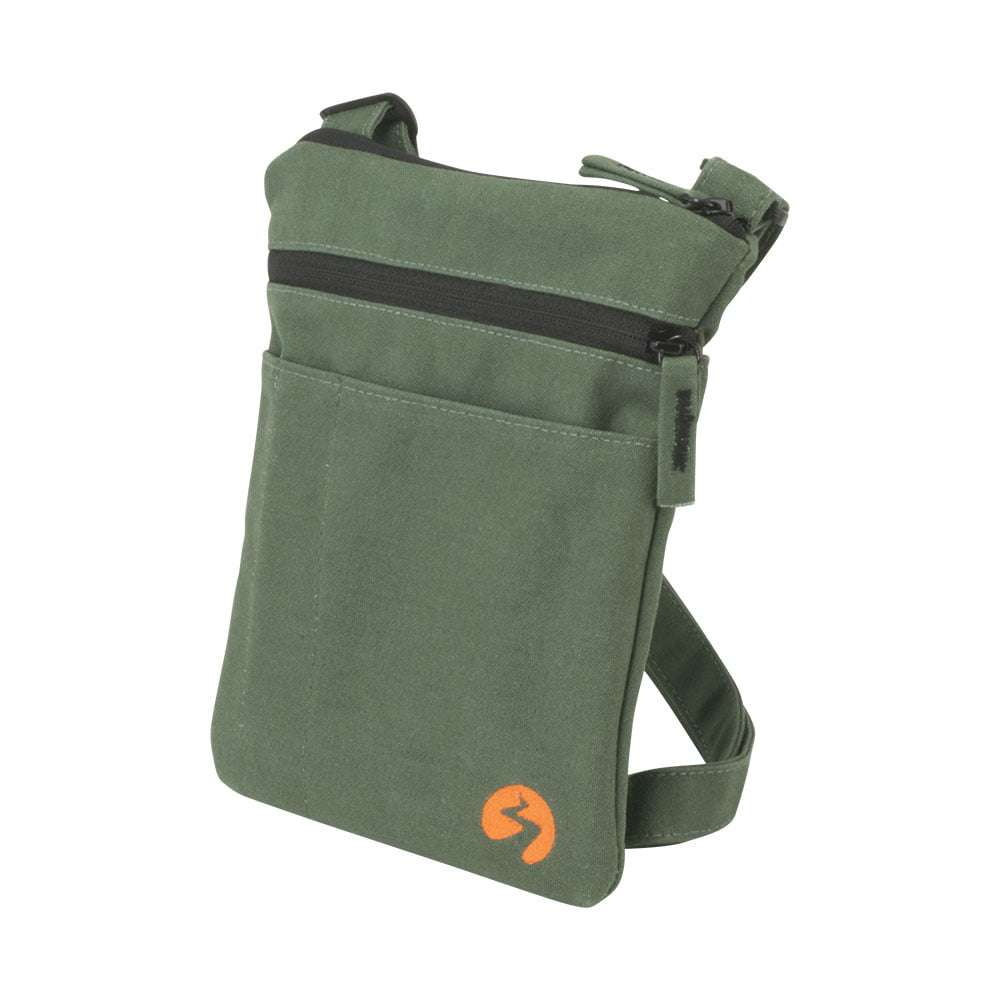 Green canvas ipad mini travel bag - Profile View