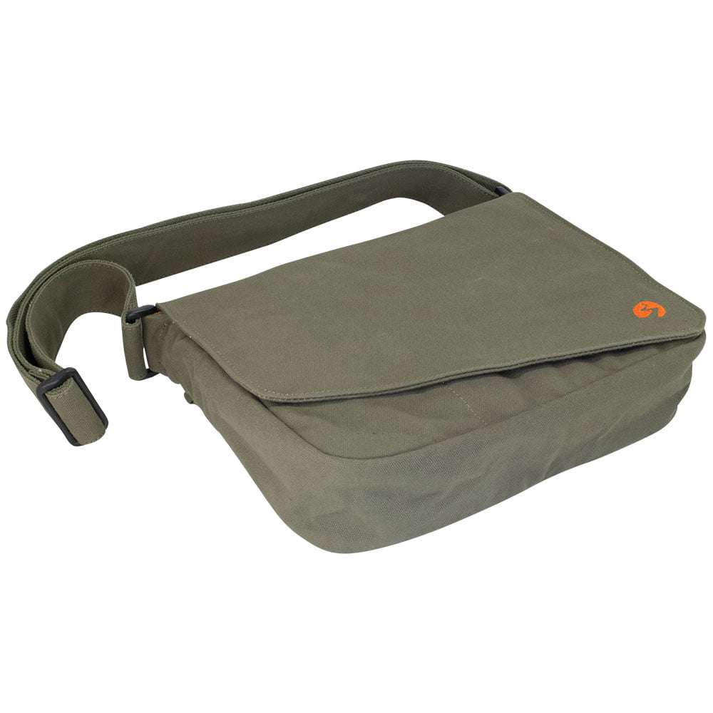 "Bottom Profile photo in studio of 13"" Olive green canvas satchel bag"