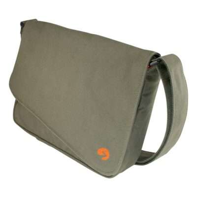"""Front photo of 13"""" Olive green canvas satchel bag"""