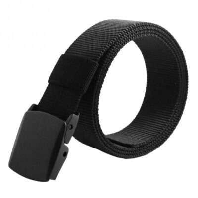 Studio Photo Of Rolled Up Black Nylon Belt with Plastic CamLock Buckle